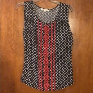 Navy blue/red sleeveless cotton blouse